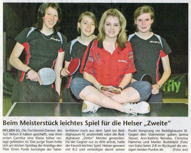 2007 Meisterschaft 2. Damen