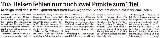20100309 - WLZ - Helsen Spitzenreiter in der Kreisliga Nord Herren